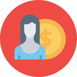 currency, employee, money, office, salary, staff, woman icon