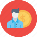 currency, employee, finance, money, office, salary, staff icon