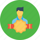 avatar, award, bedge, employee, man, office, user icon
