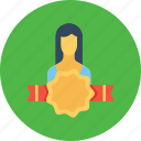 avatar, award, bedge, employee, office, user, woman icon