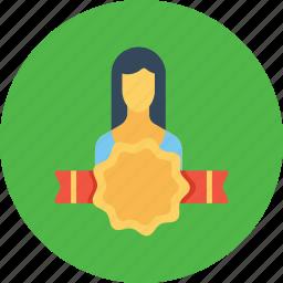 avatar, award, bedge, employee, office, user, woman icon