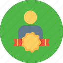 avatar, award, bedge, employee, office, person, user icon