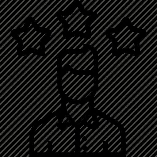 achievement, avatar, employee, man, office, star, user icon