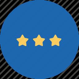 achievement, business, office, rank, star, stars, three icon