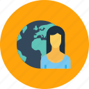 business, earth, employee, globe, office, planet, woman icon