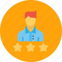 best, business, employee, office, rating, star, three icon