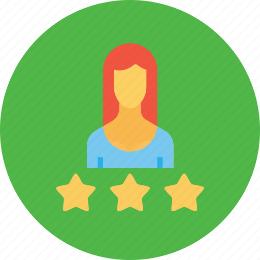business, employee, office, rating, star, three, woman icon