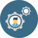 business, configuration, employee, gear, man, office, setting icon