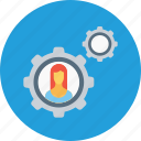 business, configuration, employee, gear, office, setting, woman icon