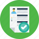 business, employee, man, recruitment, resume, selected, success icon