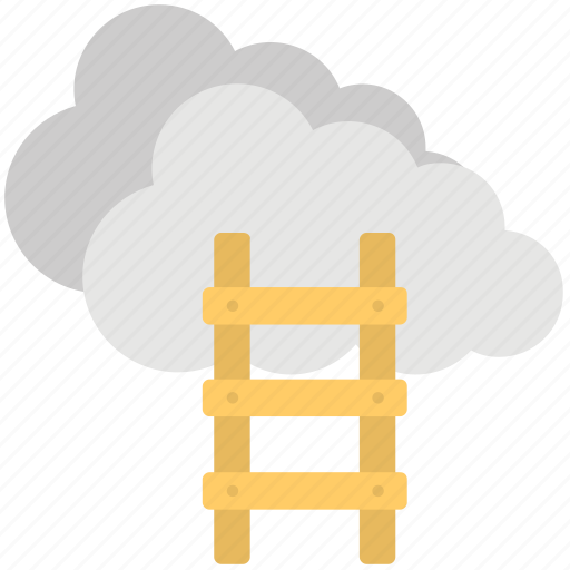 Success ladder, competition concept, cloud stairway, cloud ladder, ladder to cloud icon