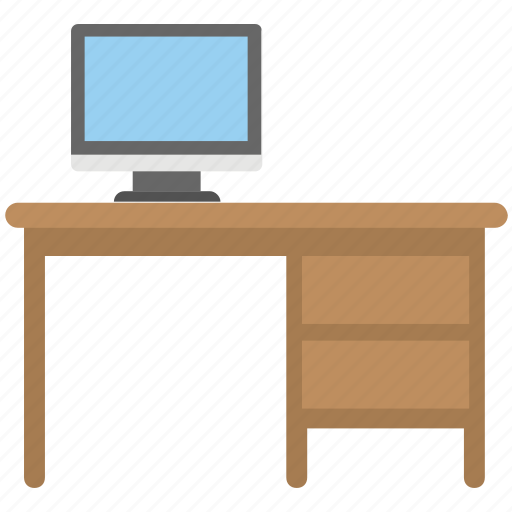 computer table, employee desk, home office, workplace, workstation icon