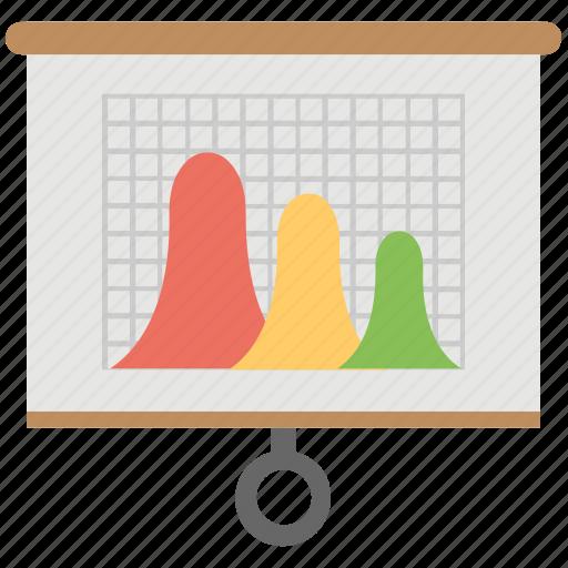 business analysis, business graph, flip chart, graphic presentation, statistics icon