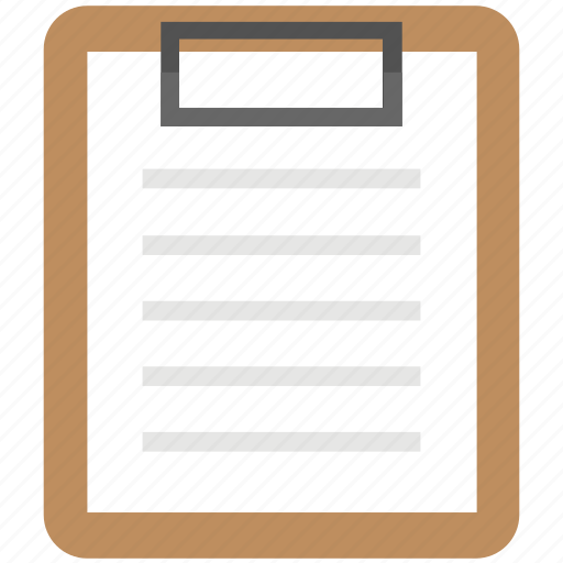 Clipboard report, clipboard note, clipboard writing pad, clipboard memo, clipboard document icon