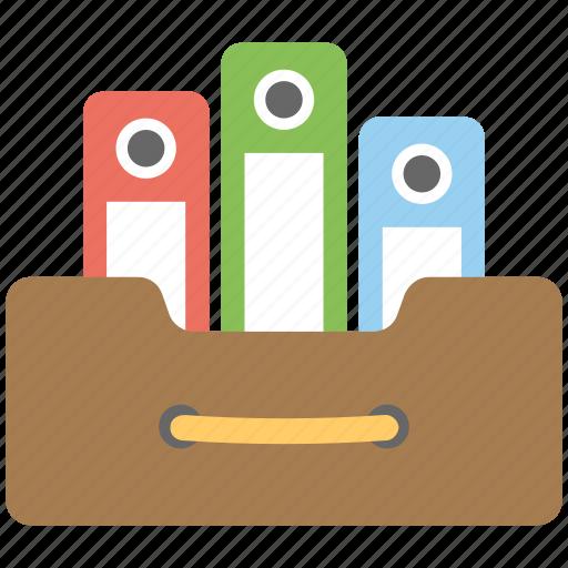 binder storage, file cabinet, file storage, papers organizer, workspace binder rack icon