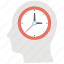 brain clock, head clock, time brain, time schedule, vision of the future icon