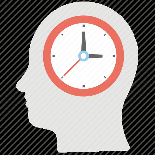 brain clock, head clock, time brain, time schedule, vision of the future icon