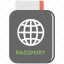 passport, tourism, travel id, travel pass, travel permit icon