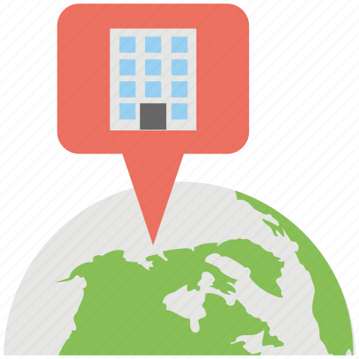 global business headquarter, global office, globalization, internationalization, world business location icon