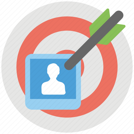 Target market, core audience, potential client, target audience, intended users icon