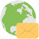 direct mail, global communication, global email, global mail, global postal service icon