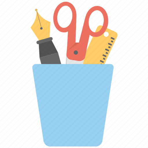 office supplies, pencil case, pencil cup, pencil holder, pencil holder cup icon