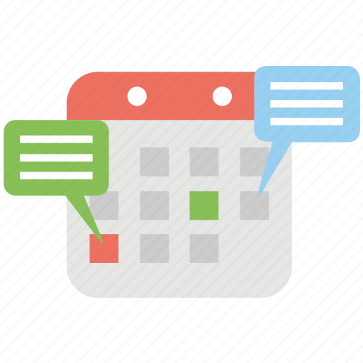 audio calendar, business chatting, calendar with speech bubble, dialog time, meeting schedule icon