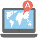 geolocation server, geolocation software, gps navigator map, laptop screen map, navigation application icon