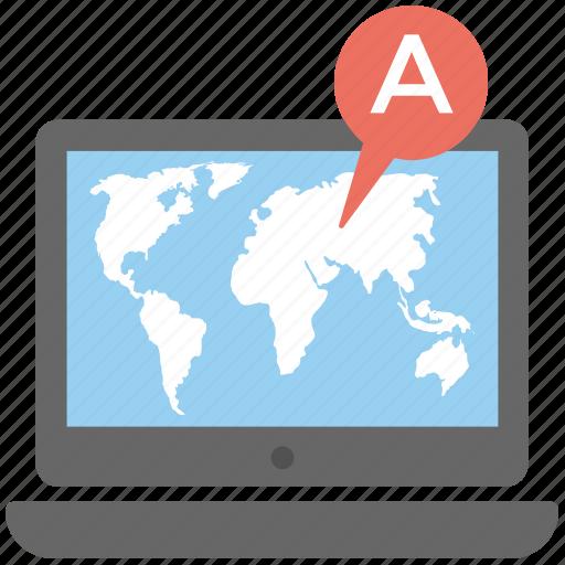 geolocation server, geolocation software, gps navigator map, laptop screen map, navigation application icon