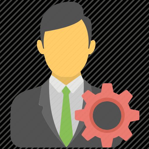 business management, businessman, industrialist, project management, technical gear icon