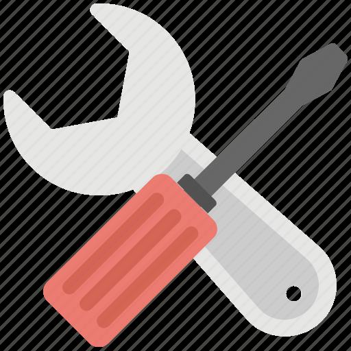 garage tools, repairing, screwdriver, settings, wrench icon