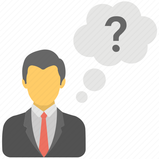 business concerns, business questioning, confused person, questioning man, thoughtful bubble icon