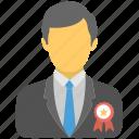 businessman wearing award badge, business winning, best seller badge, employee award, employee of the month badge