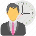 anxious businessman, busy person, deadline, punctual businessman, work time icon