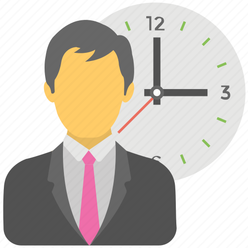 Punctual businessman, anxious businessman, work time, deadline, busy person icon