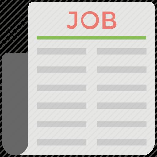 job advertisement, job classified ads, job opportunity, newspaper advertising, newspaper jobs icon