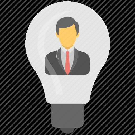 creative concept, idea bulb, luminous idea, man inside bulb, smart businessman icon