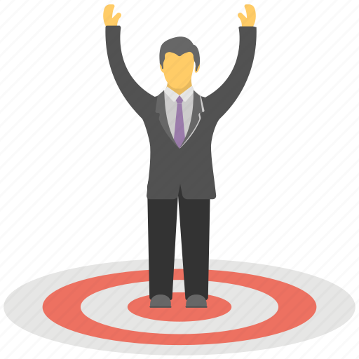 business goal, business strategy, business target, marketing concept, successful businessman icon