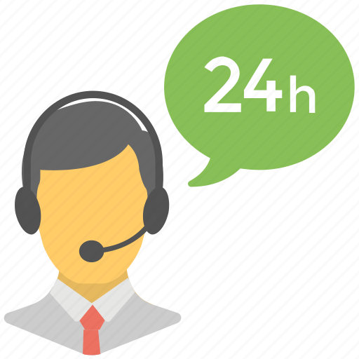 24 hr customer representative, client support, customer support, full time helpline, help center icon