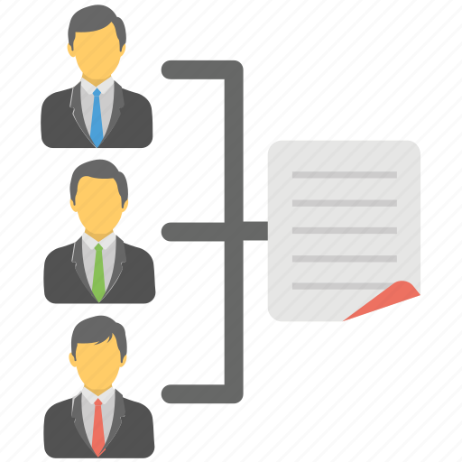 powerpoint hierarchy, presentation process, sales team, shared document, team introduction icon