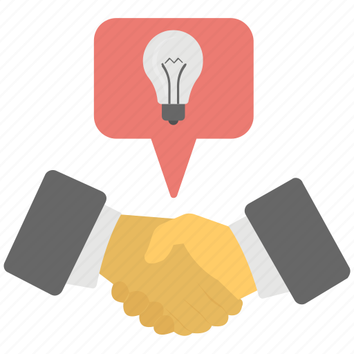 business collaboration, creative unity partnership, joint business idea, partnership idea bulb, teamwork cooperation icon