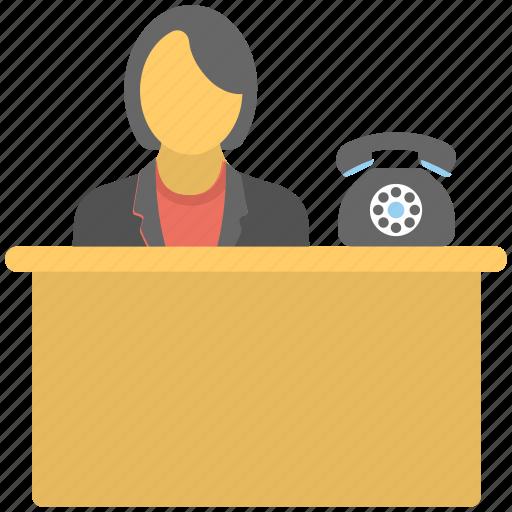 reception, reception clerk, reception telephonist, receptionist, secretary icon