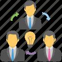 big idea, business strategy, creative process, creative team, teamwork and idea icon