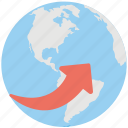 around the world, digital world, global communications, globe arrows, international business