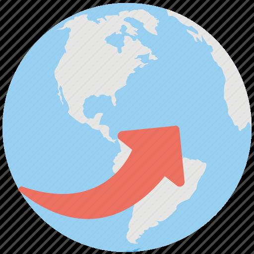 around the world, digital world, global communications, globe arrows, international business icon