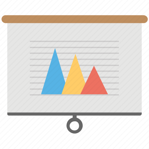 Graphic presentation, commerce, pyramid analysis, economic, financial report icon