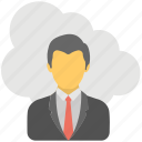 cloud businessman, remote business, remote employees, remote infrastructure management, remote workers icon