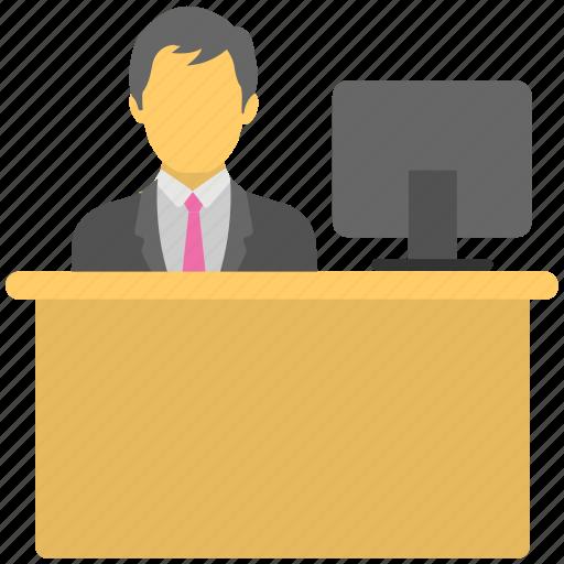 employee desk, office employee, receptionist, workplace, workstation icon