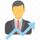 business growth, business progress, career growth, job promotion, successful businessman icon