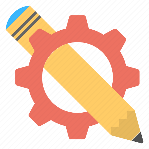 copywriting, creative writing, pencil with gear, writing skills, writing technologies icon